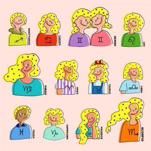 LaLa Beginさんの占いコーナーにて12星座のイラストを描かせていただきました。